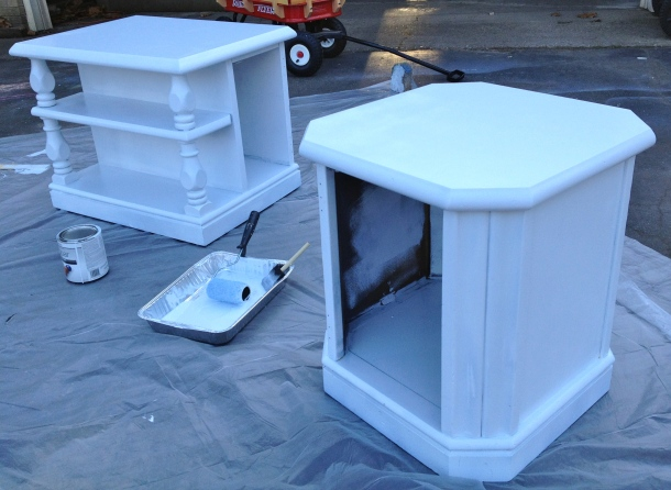 Next came the all over paint job. Nothing is quite as chic as glossy white, I don't care who you ask.